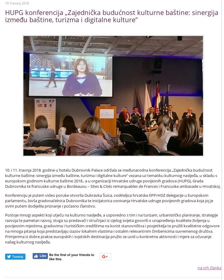 HUPG konferencija 2018 - Dubravka Šuica