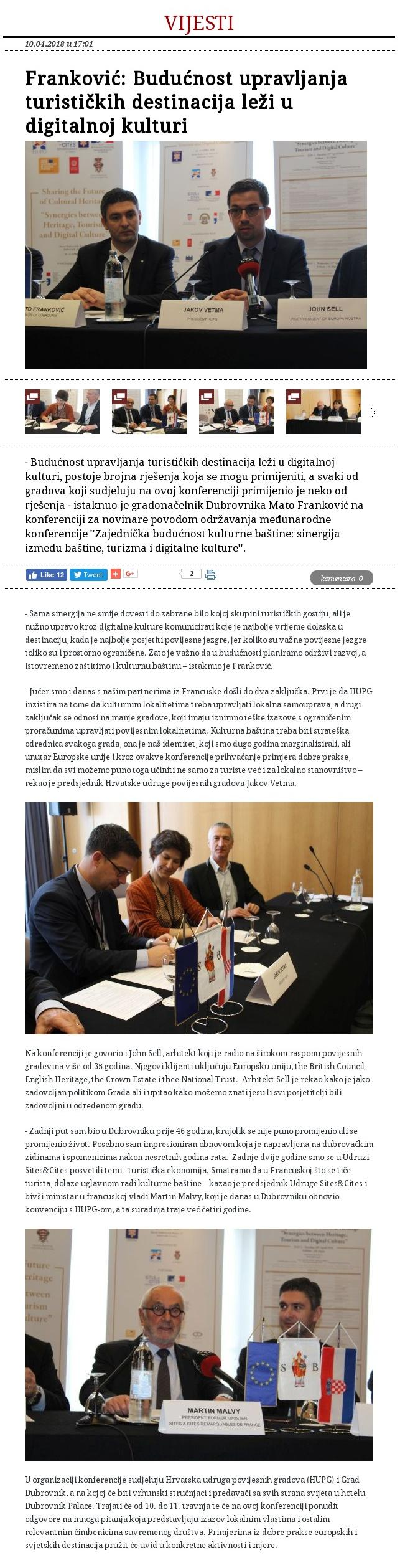 HUPG konferencija 2018 - objava na dubrovniknet.hr