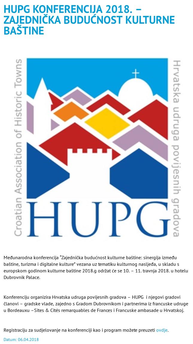 HUPG konferencija 2018 - najava na dura.hr
